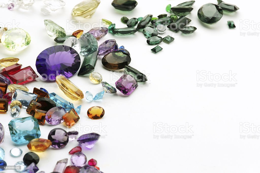 Gemstones with copy space stock photo