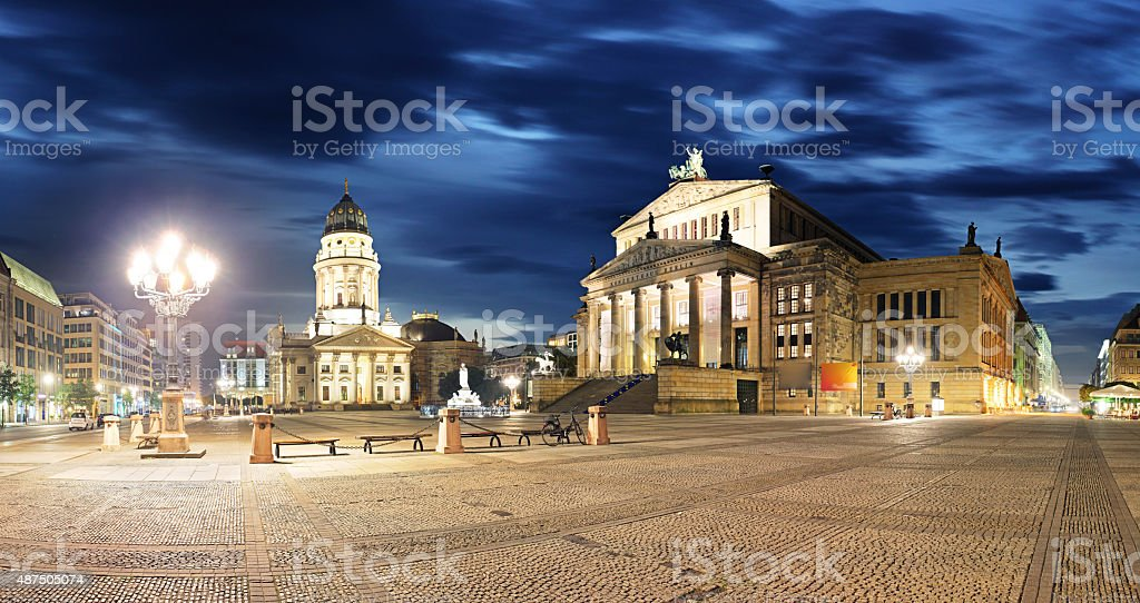 Gendarmenmarkt at night - panorama of Berlin stock photo