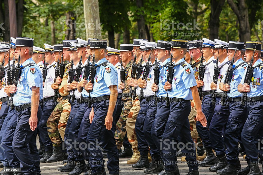 Gendarmerie group during national day, Champs Elysee avenue. stock photo