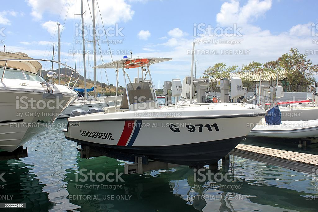 Gendarmerie miltary police patrol boat on a boat-lift stock photo