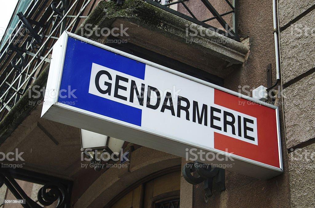 Gendarmerie sign stock photo