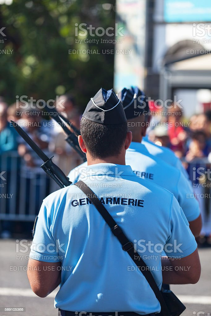 Gendarmes parading during Bastille Day stock photo