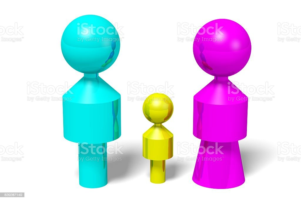 3D gender concept - family stock photo