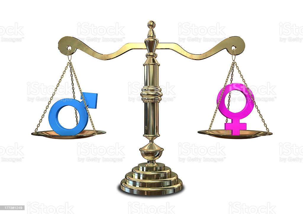 Gender Equality Balancing Scale royalty-free stock photo