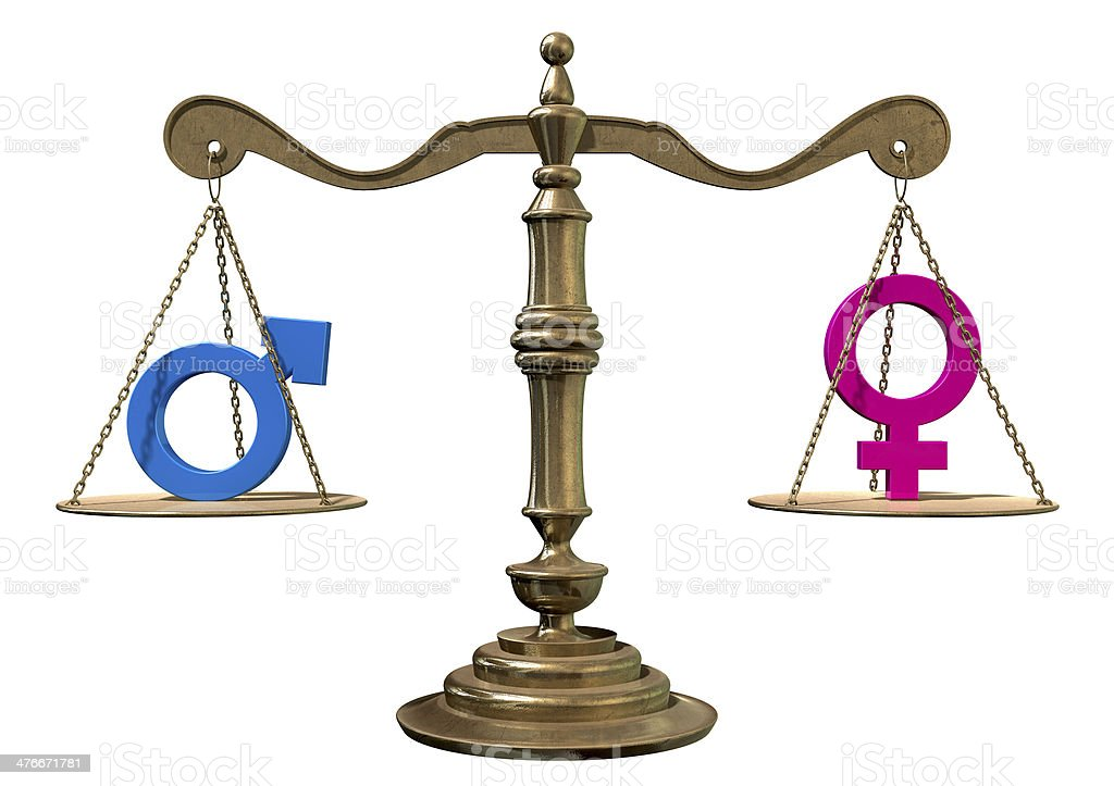 Gender Equality Balancing Scale stock photo