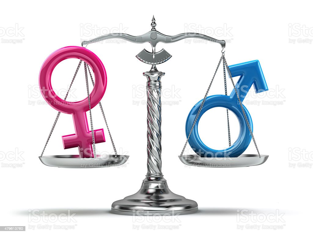 Gender equality concept. Male and female signs on the scales stock photo