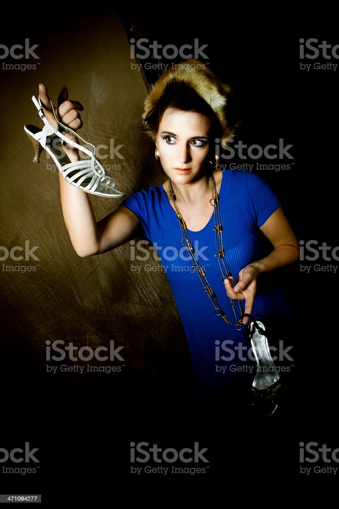 Gender Stereotypes - decision of wearing black or white shoes royalty-free stock photo