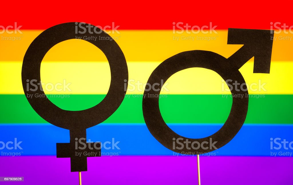 Gender symbols with LGBT rainbow flag background. Gay pride, homosexuality, and sexual minority concept. Man and woman support equality. Male and female cardboard signs on wooden sticks. stock photo