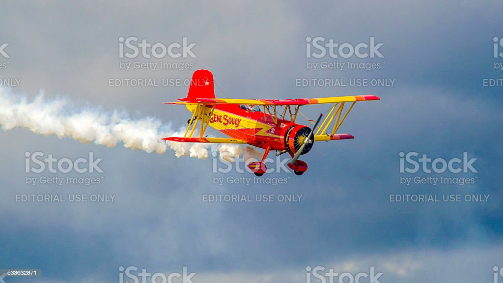 Gene Soucy Aerobatics At the 2014 Smith Reynolds Airshow stock photo