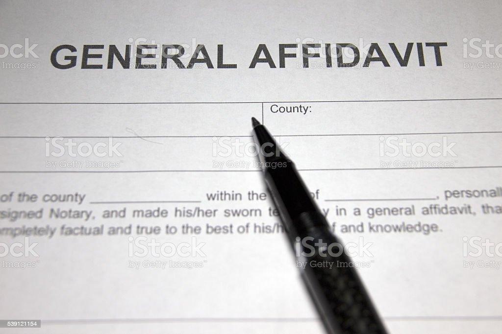 General Affidavit stock photo