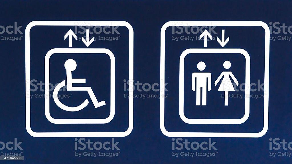 General and Handicap Accessible Elevator Sign, Closeup stock photo