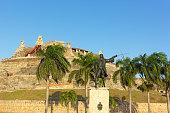 General Blas statue outside of San Felipe de Barajas fortress.