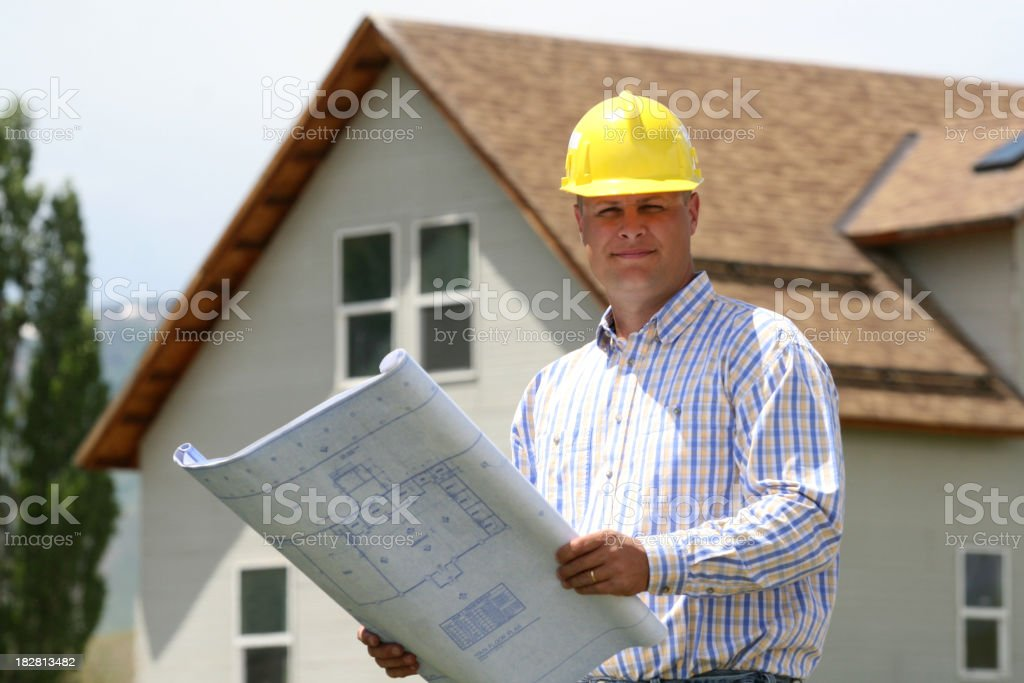 General Contactor and plans royalty-free stock photo