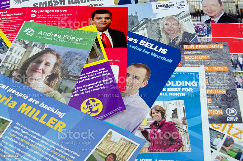 General Election leaflets, UK 2015 stock photo
