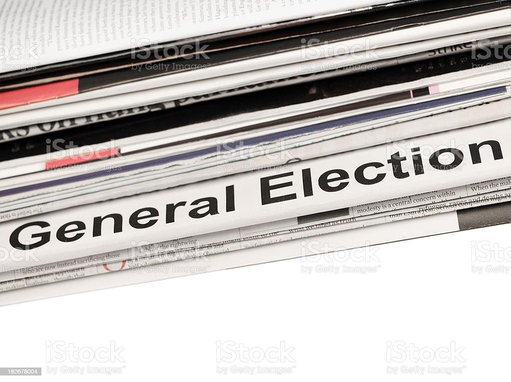 General Election Newspaper headline royalty-free stock photo