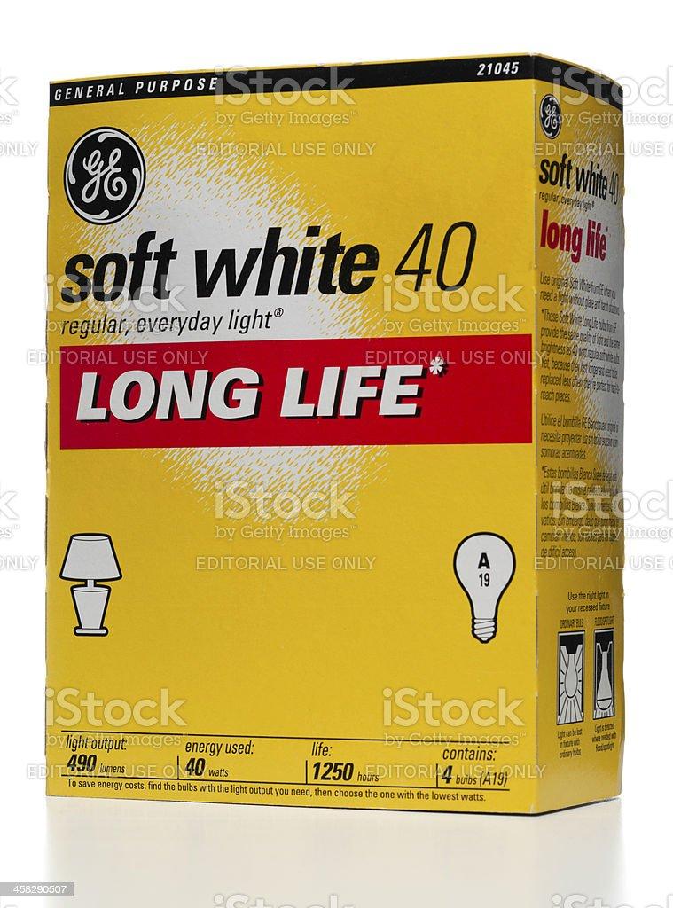 General Electric soft white 40 bulbs box stock photo