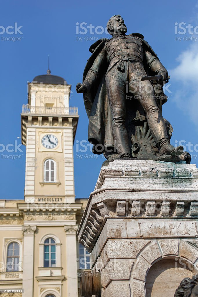 General Klapka statue and Komarno city hall stock photo