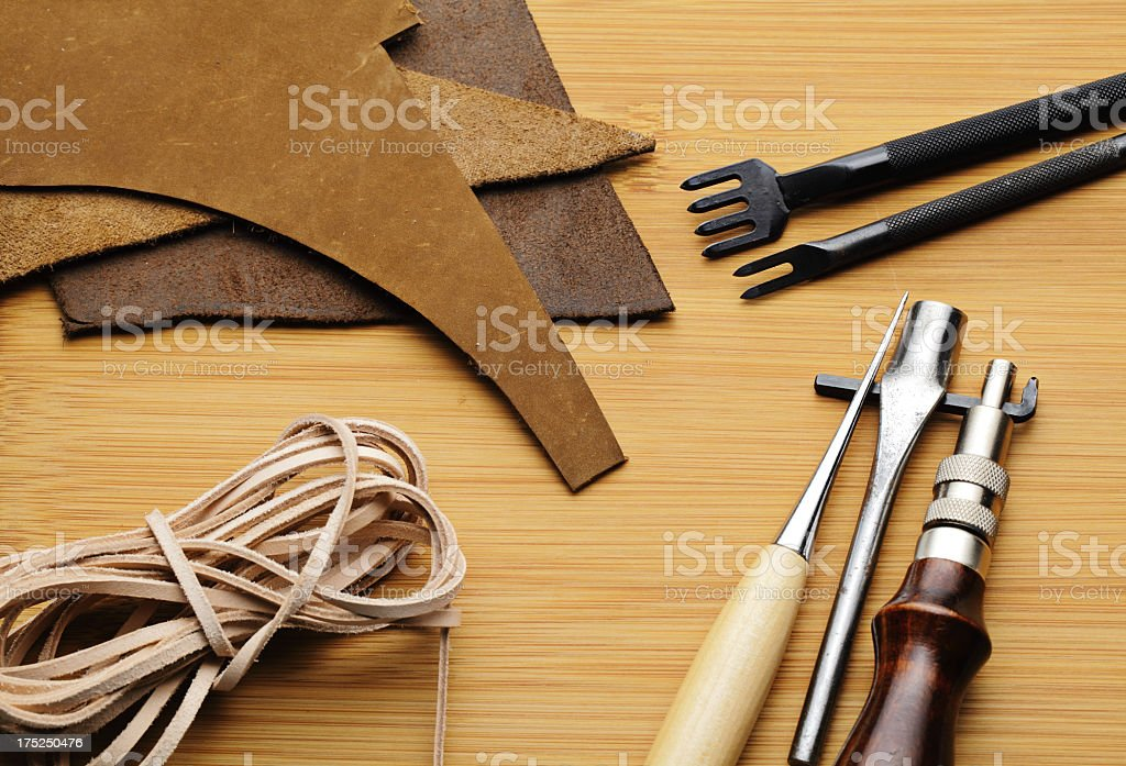 general leather craft tool stock photo