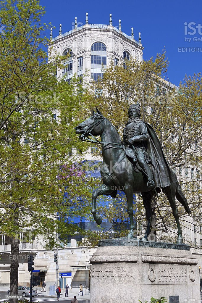 General Pulaski Statue, Washington DC. stock photo