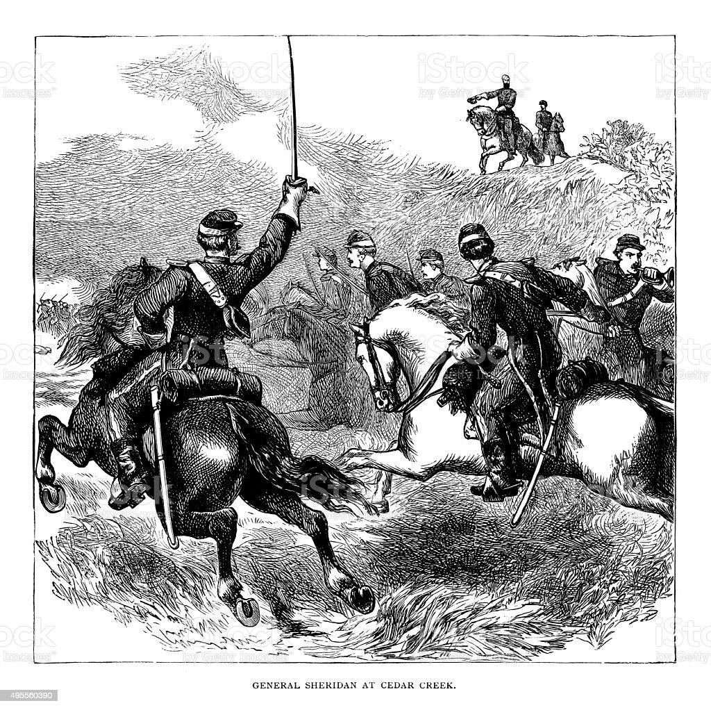 General Sheridan at Cedar Creek stock photo