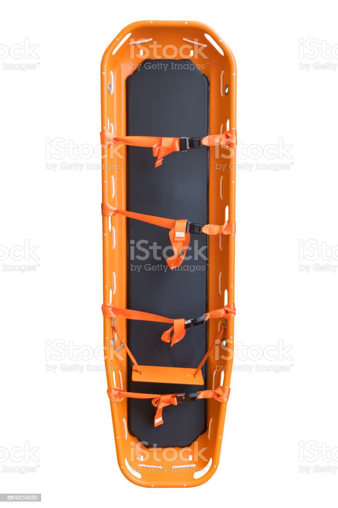General stretcher for emergency paramedic service for carrying patient in emergency case, Emergency medical equipment in ambulance isolate on white stock photo