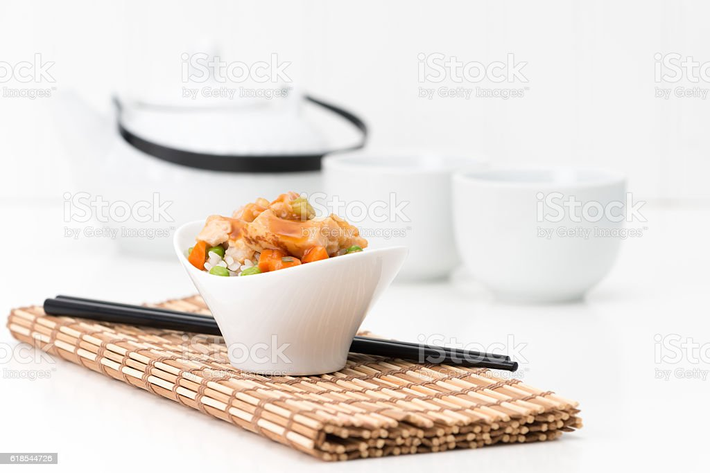 General Tao Chicken and Tea stock photo