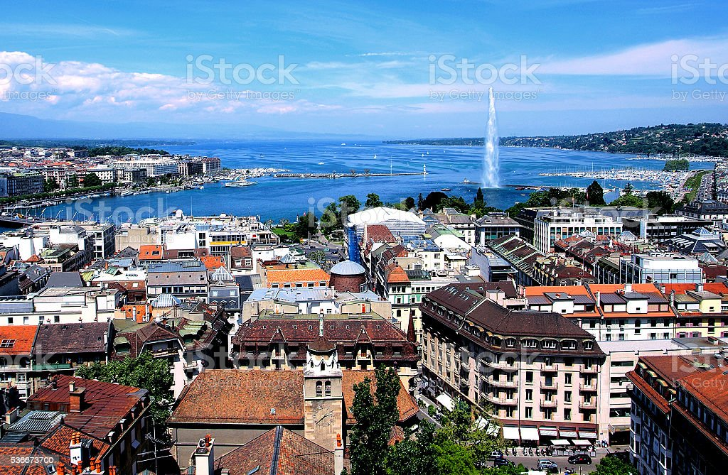 General view of Geneva, in Switzerland stock photo