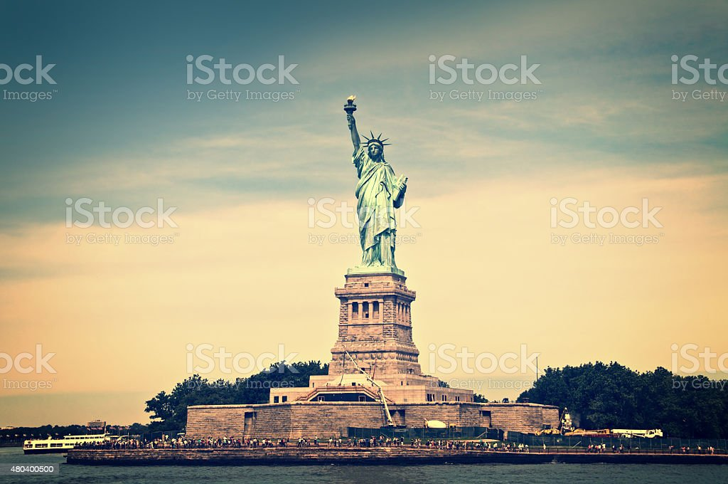 General view of liberty island, New York City, vintage process stock photo