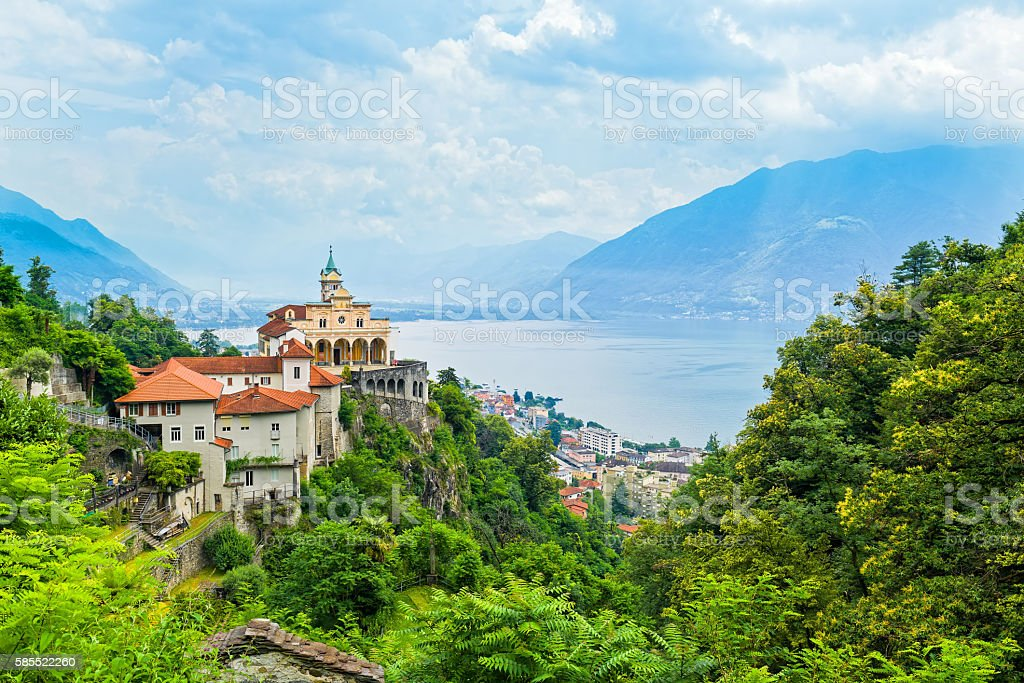 General view of Locarno with Madonna del sasso stock photo