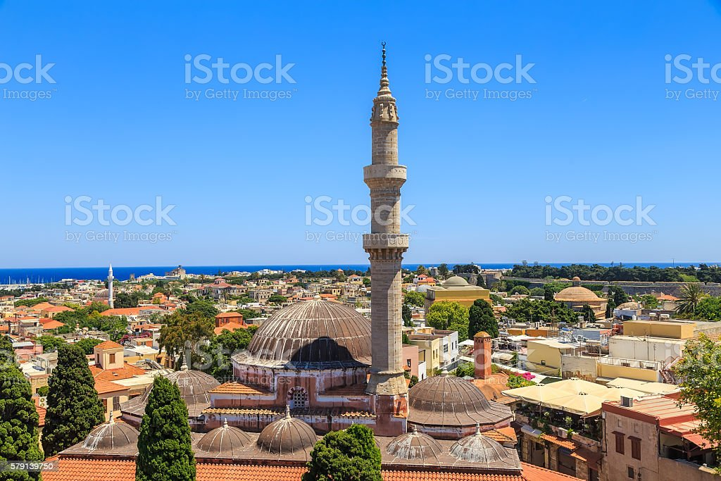 General view of Rhodes with roofs, minaret and mosque stock photo