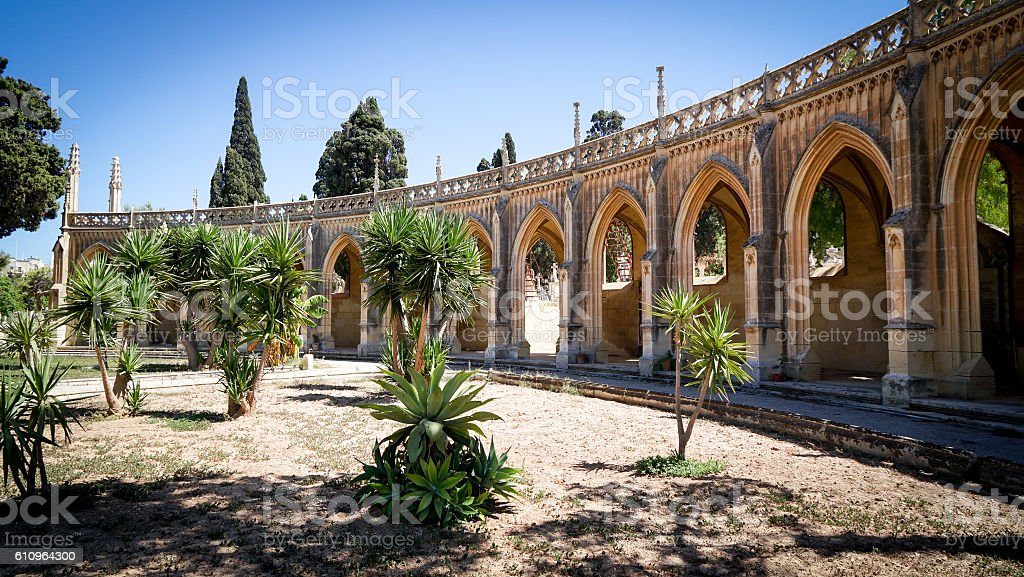 General View of the Addolorata Cemetery entrance stock photo