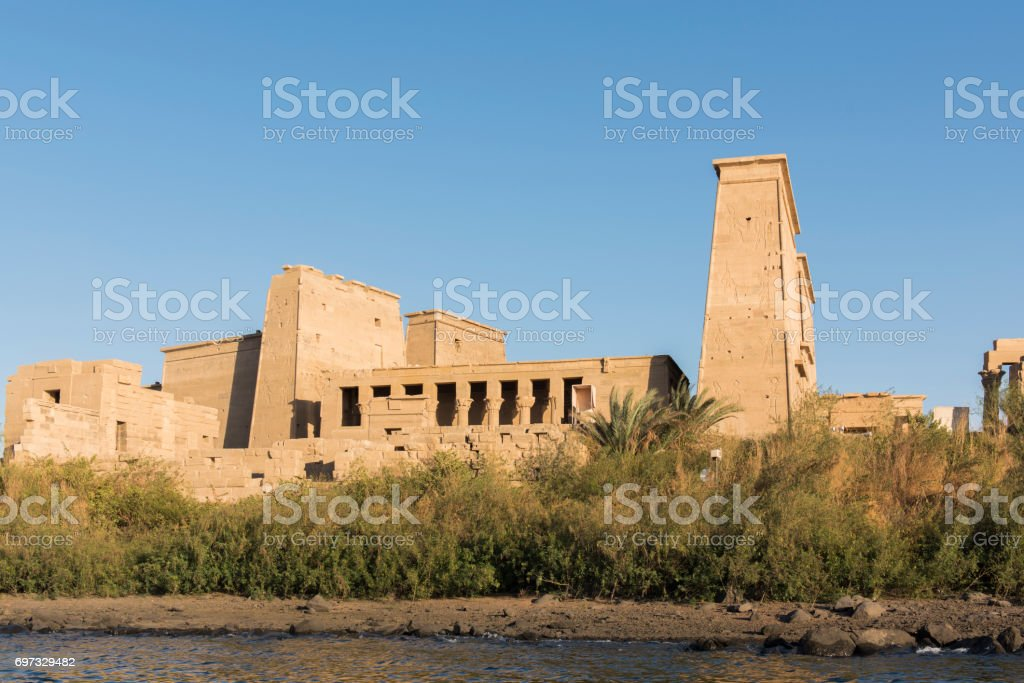 General view of the Temple of Philae, Aswan, Egypt. stock photo