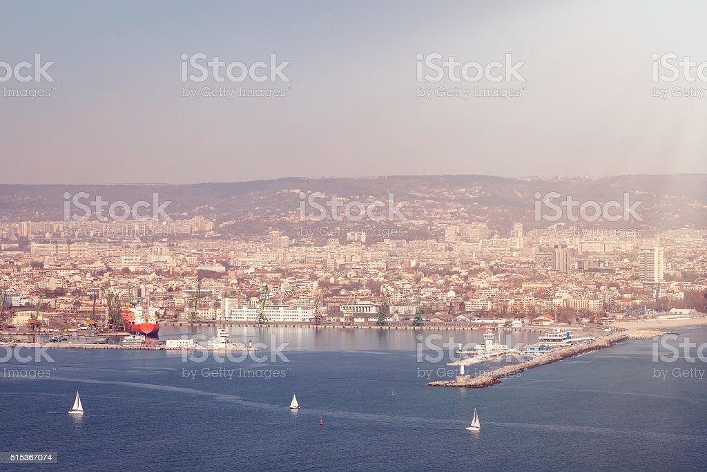 general view of Varna, Bulgaria in beautiful sunny day stock photo