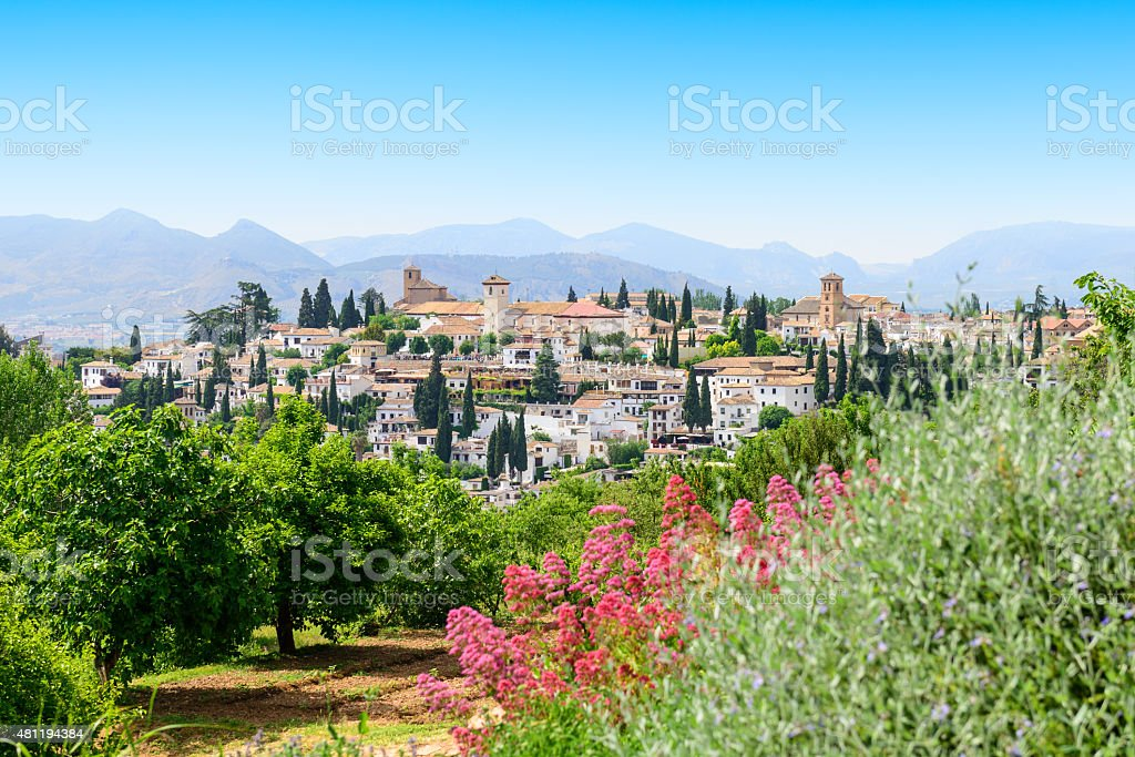 General view old city of Granada, Spain stock photo