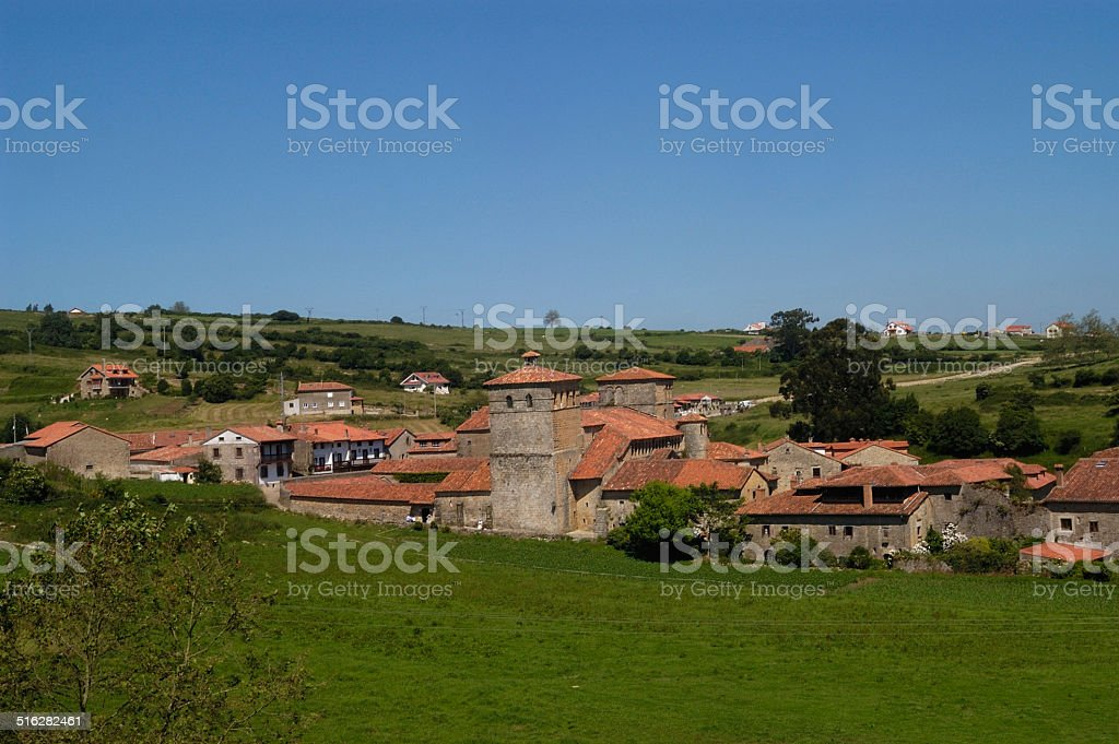vista general , Santillana del Mar, Cantabria, Spain stock photo