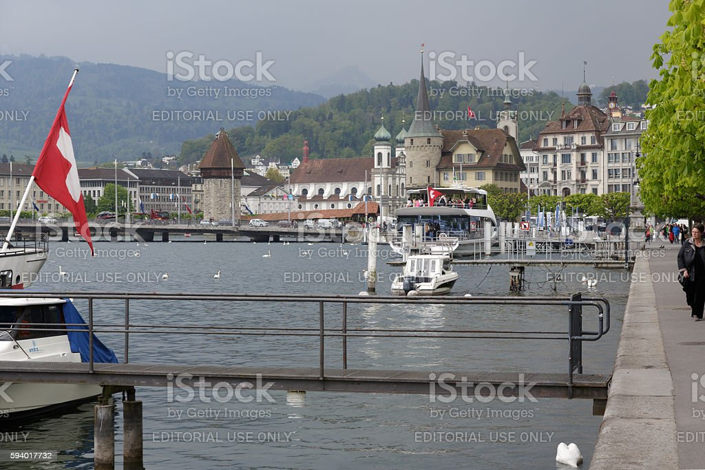 General view towards old town, Lucerne stock photo