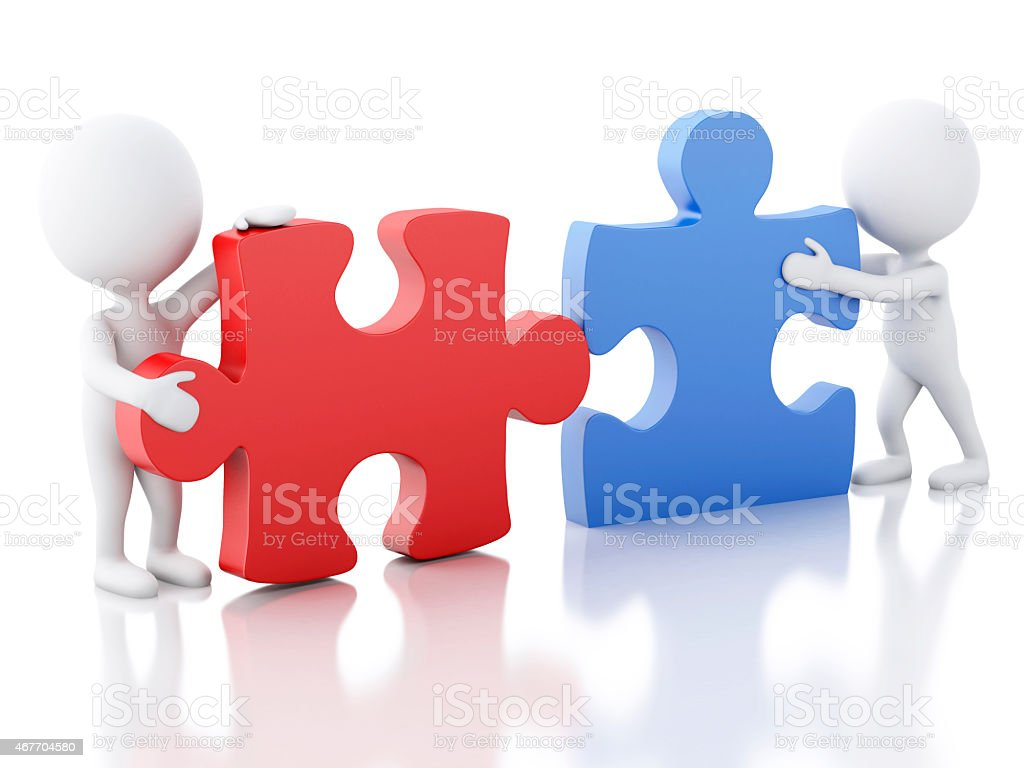 3D generated people working to assemble a puzzle stock photo