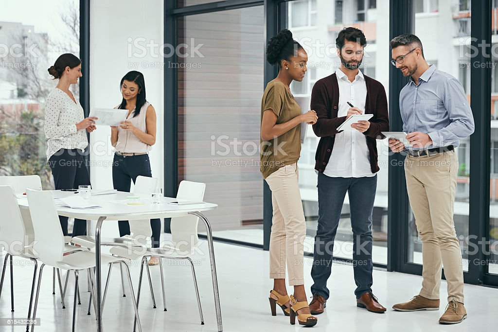 Generating some fresh and innovative ideas together stock photo