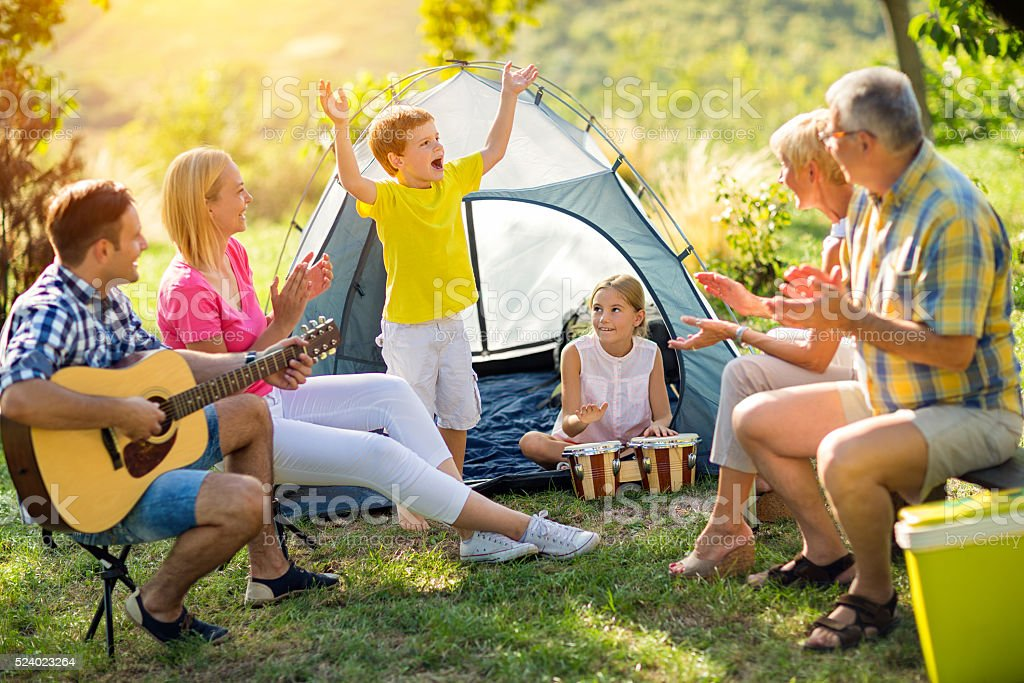 Generation family in the countryside together stock photo