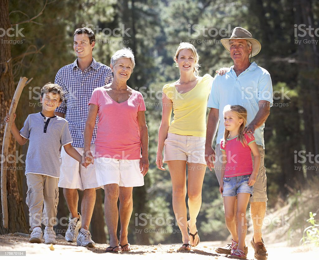 3 Generation family on country walk royalty-free stock photo