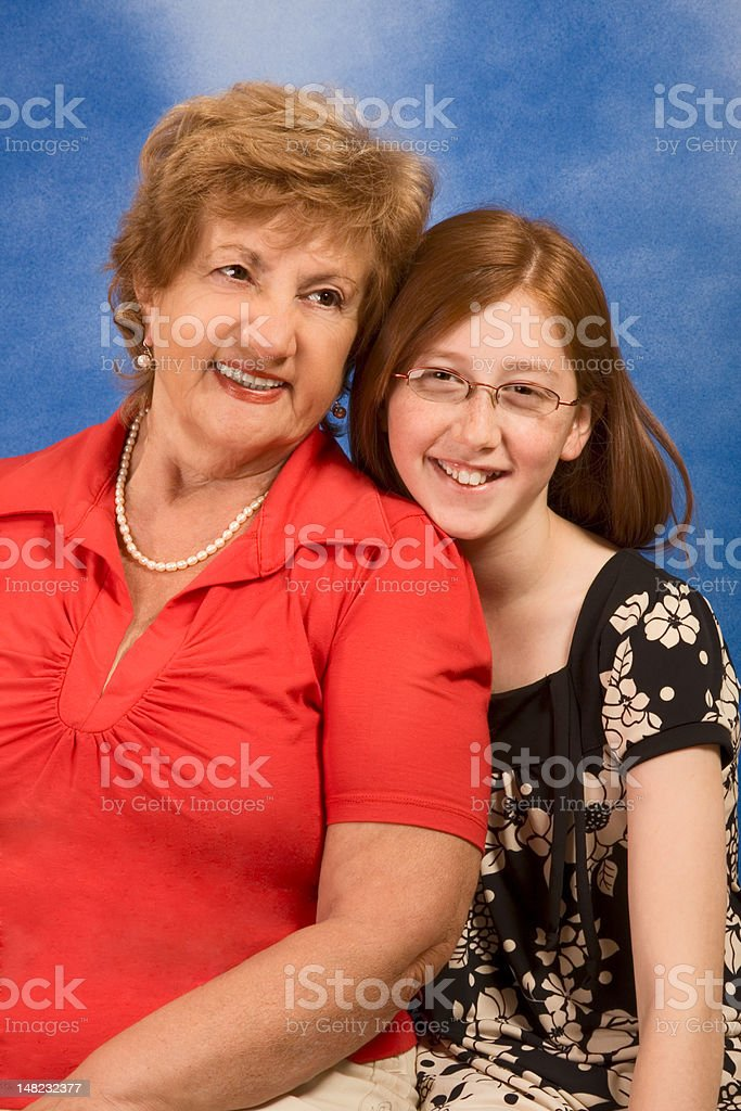 Generations - happy grandmother and granddaughter royalty-free stock photo