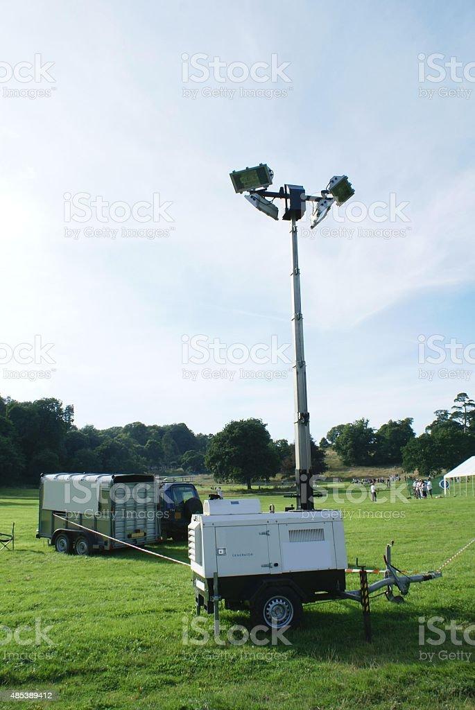 generator and spot lights stock photo