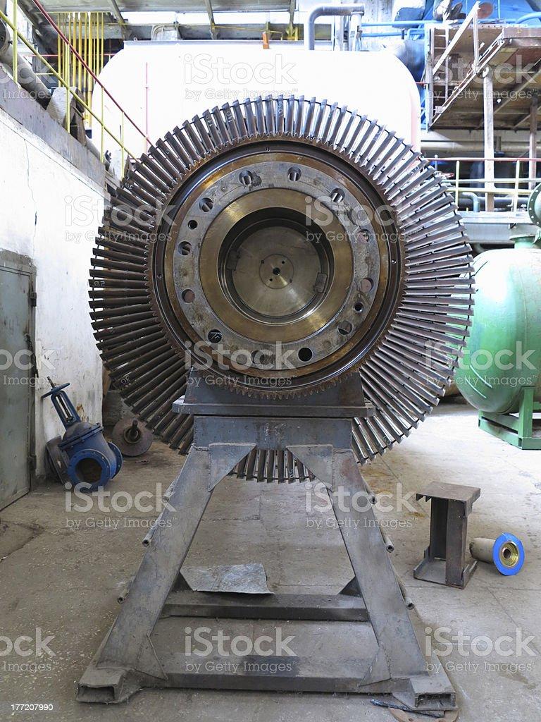 generator steam turbine during repair at power plant royalty-free stock photo