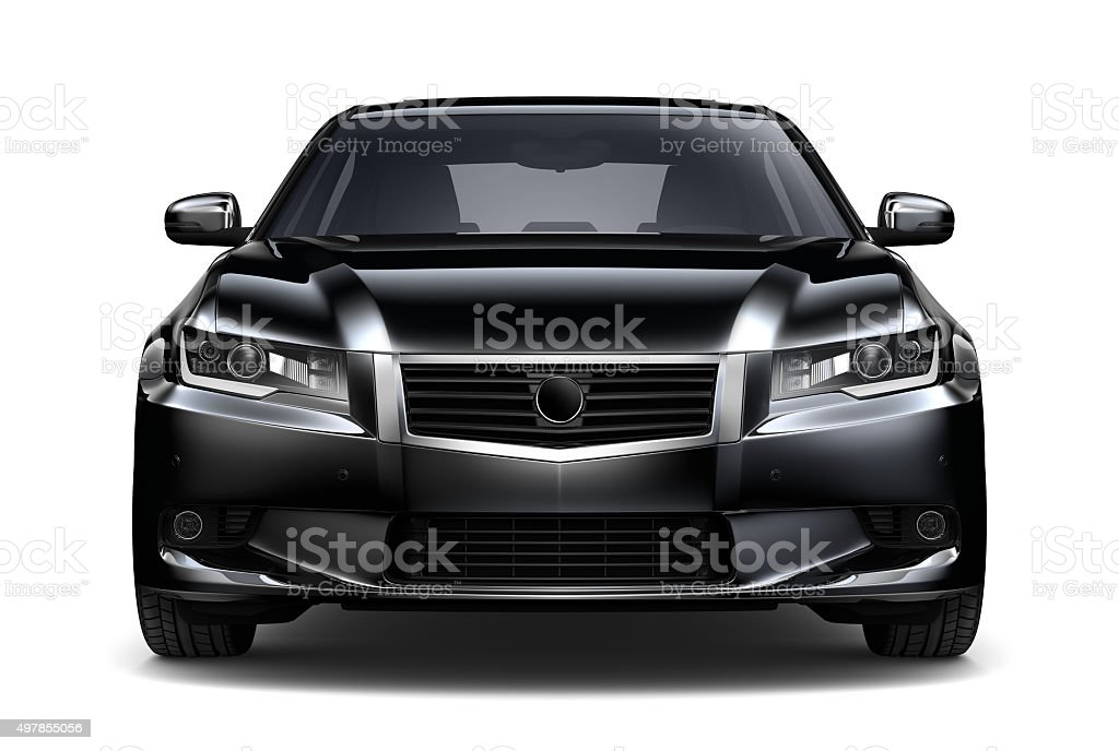 Generic black car - front view stock photo