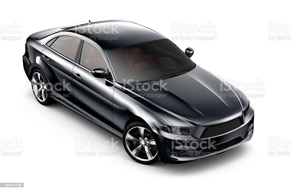 Generic black car on white stock photo