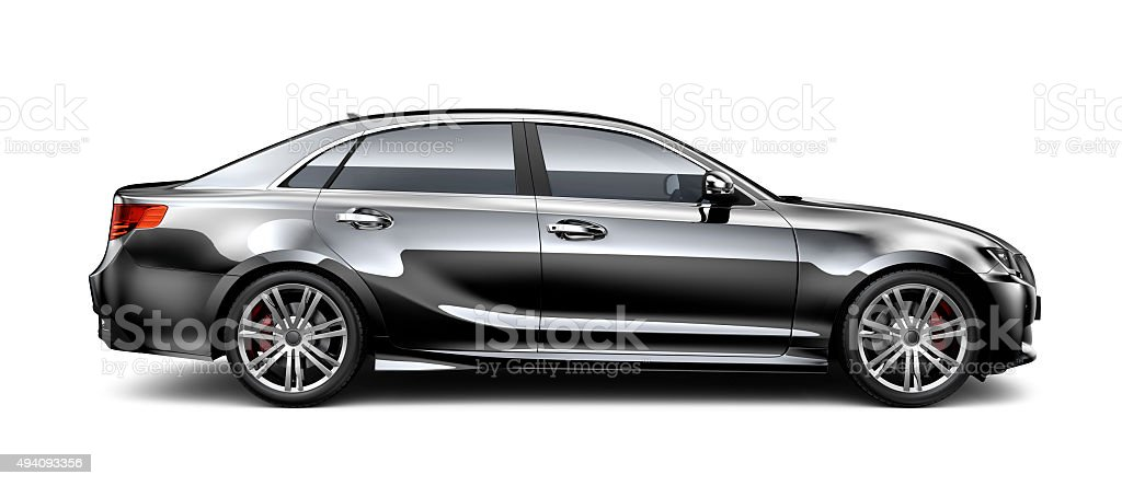 Generic black car - side view stock photo