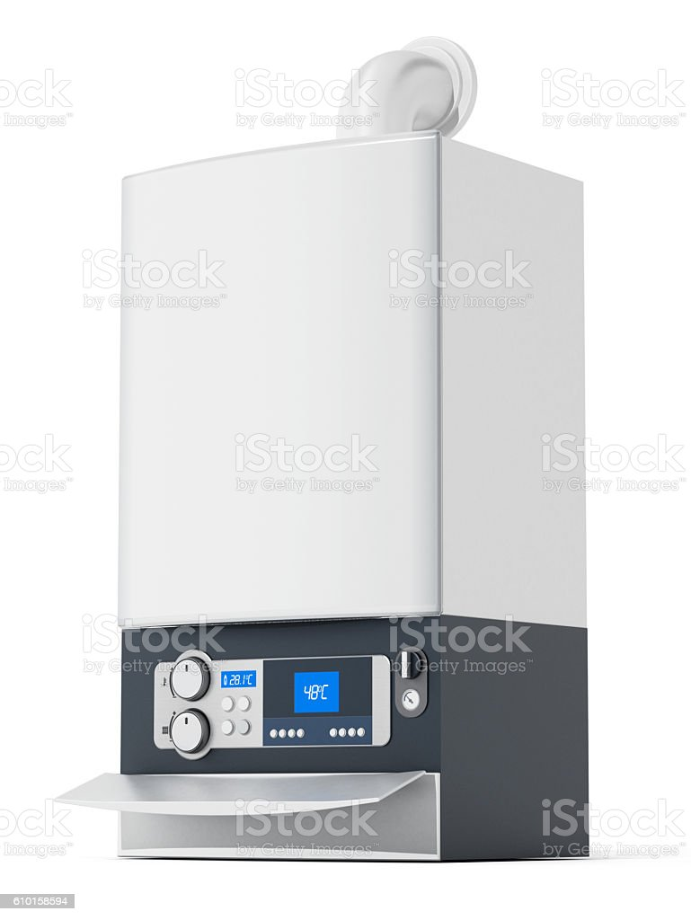 Generic boiler isolated on white stock photo