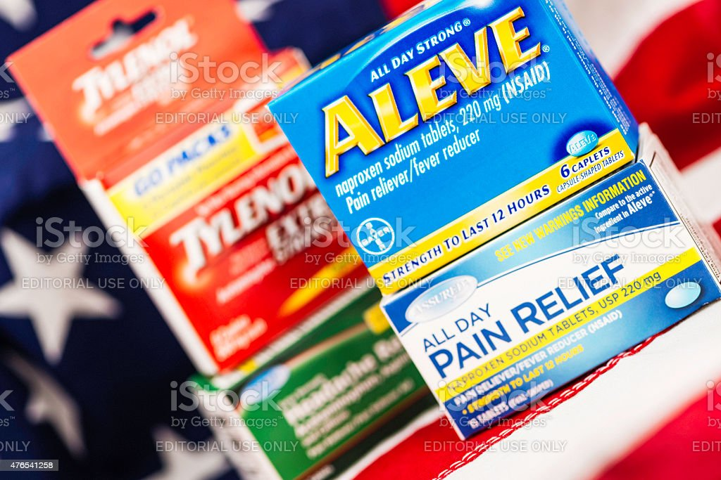 Generic brand pain medication vs name brand Aleve and Tylenol. stock photo