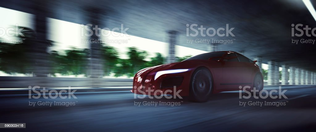 Generic brandless sport vehicle speeding stock photo