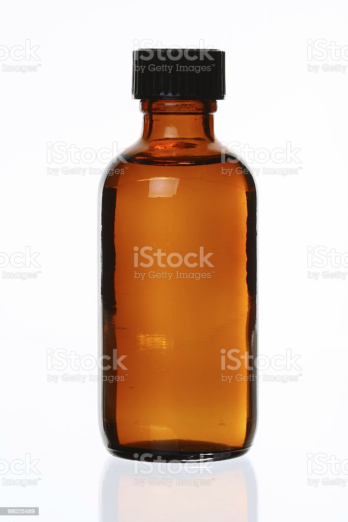 Generic Brown Medicinal Bottle, Cap On stock photo